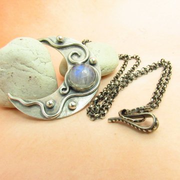 Moonstone Crescent Moon Pendant Necklace In Argentium Sterling Silver, Artisan Metalsmith  Celestial Jewelry From Mocahete