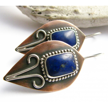 Lapis, Sterling Silver And Copper Earrings
