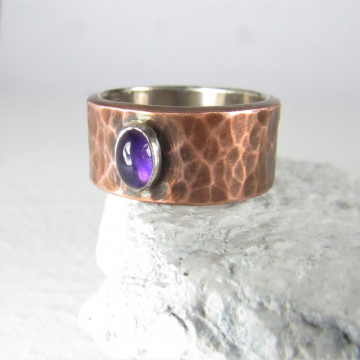 Size 6 Fine Silver Lined Copper Ring With Amethyst, Handcrafted Mixed Metal Jewelry By Mocahete