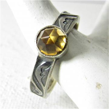 Sterling Silver Citrine Ring, November Birthstone Ring, Size 7, 7.5