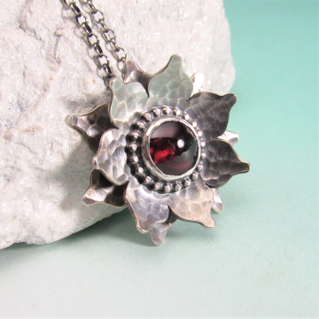 Red Lotus Necklace, Argentium Sterling Silver And Garnet Flower Pendant, Romantic Jewelry