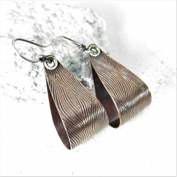 Modern Loops, Textured, Riveted Sterling Silver And Copper Earrings