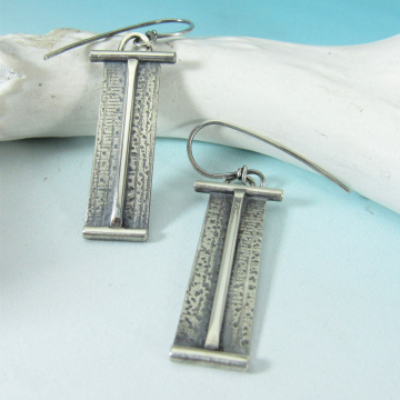Monument, Sleek And Contemporary Argentium Sterling Silver Rectangular Geometric Earrings
