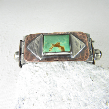 Hinged Mixed Metal And Stone Bracelet, Sterling Silver, Copper, Tigers Eys And Turquoise One Of A Kind, Unisex