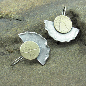 Ancient Artifact Earrings, Bronze And Sterling Silver Disk And Fan Earrings by Mocahete