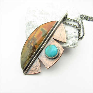 Cherry Creek Jasper And Turquoise Leaf Necklace In Sterling Silver And Copper, One Of A Kind Artisan Jewelry