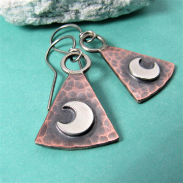 Copper And Sterling Silver Trapezoid Moon Earrings, Mixed Metal Lunar Jewelry By Mocahete