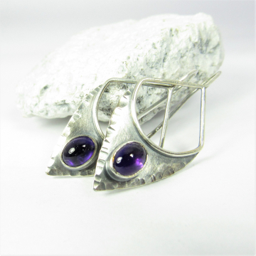 Amethyst Earrings In Argentium Sterling Silver With An Urban, Tribal Spirit, Shield Shape