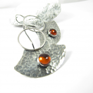 Sterling Silver And Amber Earrings, Modern Metalsmith Rustic Handcrafted Jewelry For The Bohemian Spirit