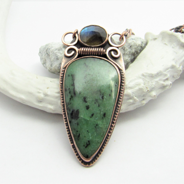 Solid Copper Necklace With Zoisite And Labradorite, One Of A Kind Pendant Necklace By Mocahete