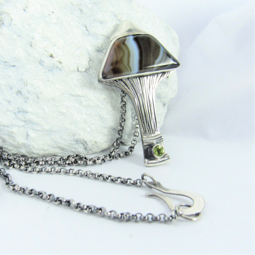 Argentium, Banded Agate And Peridot Mushroom Pendant, One Of A Kind Jewelry By Mocahete