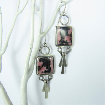 Rhodonite Earrings, Pink And Black Argentium Sterling Silver Paddle Earrings By Mocahete, One Of A Kind