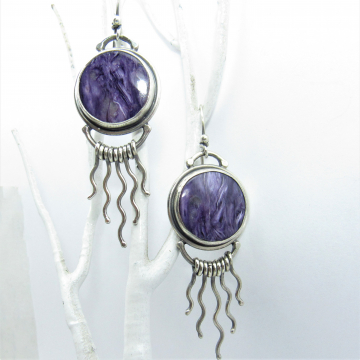Argentium Sterling Silver Earrings With Purple Charoite Cabochons And Curvy Silver Fringe, Exotic Earrings