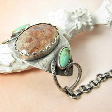 Turquoise And Fossil Coral Bracelet, One Of A Kind Argentium Sterling Silver Designer Bracelet