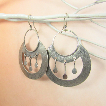 Large Argentium Sterling Silver Nefertiti Earrings, Exotic Earrings Inspired By Ancient Egyptian Jewelry
