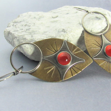 Sterling Silver, Bronze And Carnelian Earrings, Large Statement Earrings, Contemporary Mixed Metal Shield Design