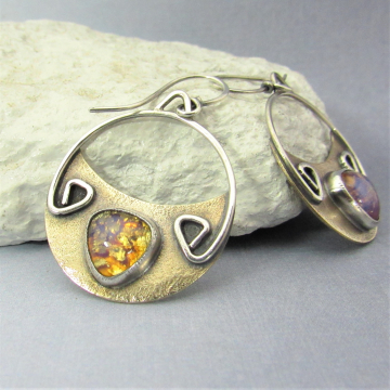Vintage Topaz Glass And Mixed Metal Earrings, Sterling Silver And Bronze Crescent Earrings