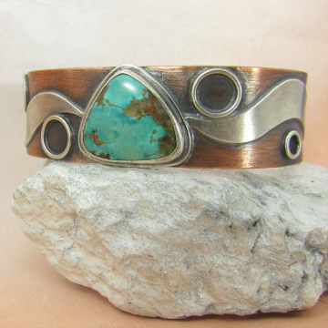 Sterling Silver, Copper And Turquoise Cuff Bracelet By Mocahete, One Of A Kind Mixed Metal Cuff