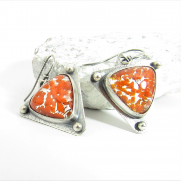 Argentium Sterling Silver Earrings With Vintage Japanese Sparkly Orange Glass Cabochons
