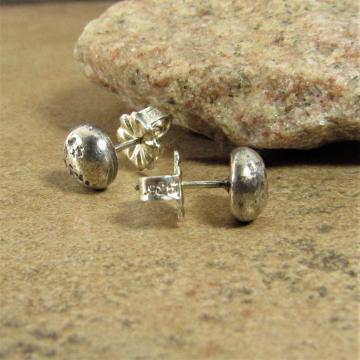 Textured Argentium Sterling Silver Nugget Stud Earrings