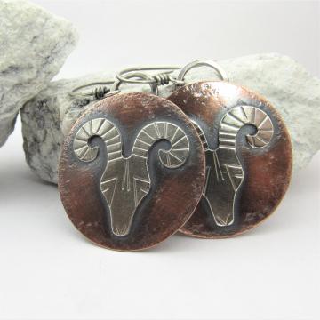 Mixed Metal Rams Head Earrings, Copper And Argentium Sterling Silver Earrings, Aries Earrings