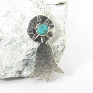 Argentium Sterling Silver And Turquoise Blossom Necklace By Mocahete