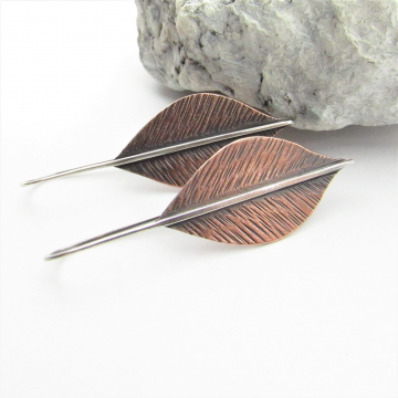 Long Mixed Metal Leaf Earrings, Copper And Argentium Sterling Silver Two Tone Botanical Jewelry By Mocahete