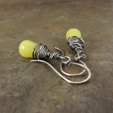 Wire Wrapped Sterling Silver And Citrusy Serpentine Drop Earrings