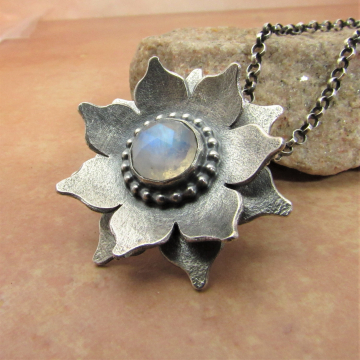 Argentium Sterling Silver And Rainbow Moonstone Lotus Necklace By Mocahete