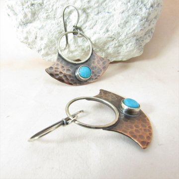 Hammered Copper And Turquoise Earrings, Mixed Metal Blade Style Earrings By Mocahete