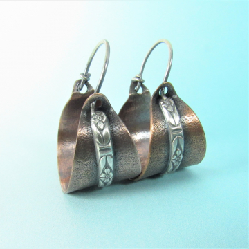 Sterling Silver And Copper Basket Earrings, Mixed Metal Hoops By Mocahete, Great For Everyday Wear