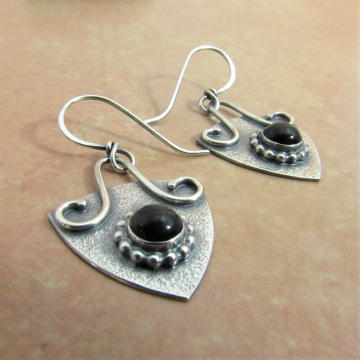 Argentium Sterling Silver And Black Onyx Earrings, Triangular Silver Earrings
