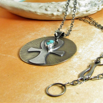 Bronze, Sterling Silver and Turquoise Ankh Pendant Necklace, Mixed Metal Egyptian Inspired Handmade Metalsmith Jewelry