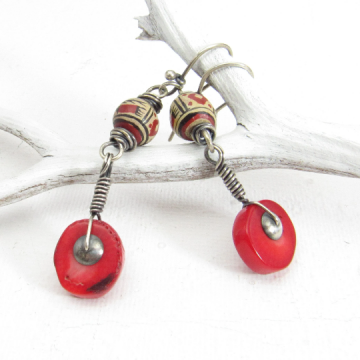 Red Coral Earrings With Sterling Silver And Vintage Peruvian Ceramic Beads, One Of A kind Earrings