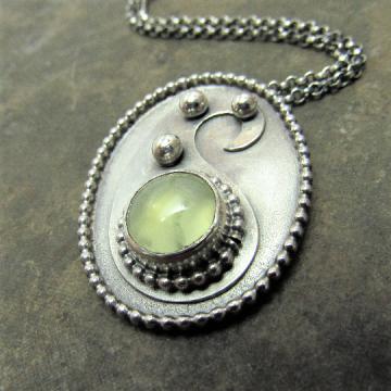 Prehnite Necklace, Paisley Necklace, Argentium Sterling Silver Necklace, OOAK Pendant Necklace Artisan Jewelry, Metalsmith Gemstone Necklace